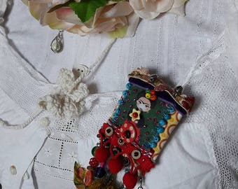 Boho Brooch, Gypsy Brooch, Upcycled Jewelry, Fabric Brooch, Boho Style, Antique French Lace, Upcycled Sari Silk, Vintage style Brooch, OOAK