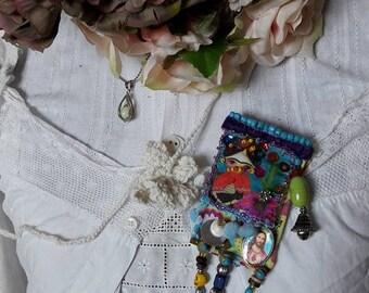 Boho Brooch, Gypsy Brooch, Brooch Upcycled Jewelry, Fabric Brooch, Boho Style, Upcycled Sari Silk, Vintage style Brooch, OOAK,