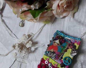 Boho Brooch, Gypsy Brooch, Upcycled Jewelry, Fabric Brooch, Boho Style, Upcycled Sari Silk, Vintage Style Brooch, OOAK,
