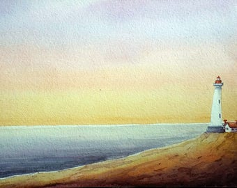 Morning Lighthouse - Original Watercolor on Paper Painting, Light house,Light,city,landscape, cityscape,water,sea,ocean
