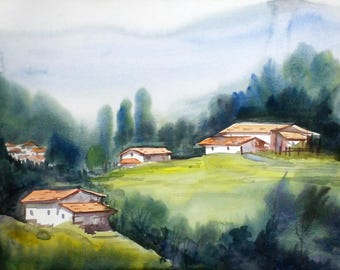 Himalaya Landscape - Handpainted Watercolor Painting on Paper