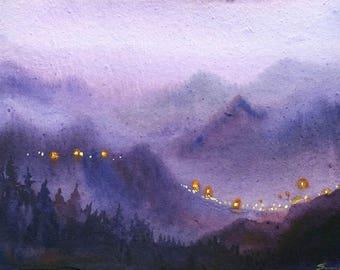 Beauty of Night Himalayan City - Original Watercolor painting on paper,Himalaya,Mountain,night,night landscape