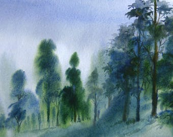 Mountain Forest - Original Watercolor painting on paper