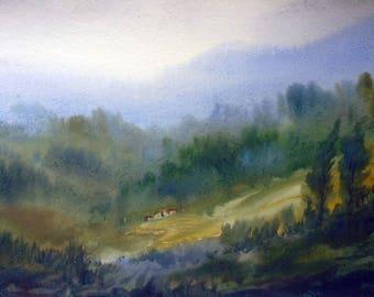 Mysterious Himalaya - Handpainted watercolor painting