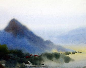 Misty Himalaya - Original Watercolor Painting on Paper ,Misty,Himalaya,mountain,landscape,foggy