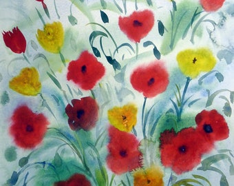 Poppies Beauty -Original watercolor painting on paper