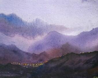 Night Himalaya Village -Original watercolor paper painting,Original,watercolor,Painting,Paper