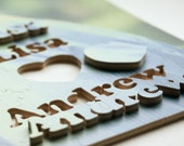 Wedding Puzzle (guest book), Photo, 90 PIECES, wood, handcut, personalized, words, figurals, 14 x 18 inches