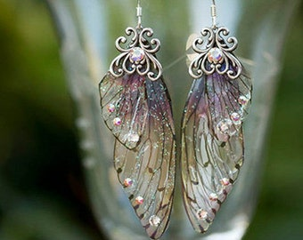 Fairy butterfly wing crystal magical enchanted elf pixie artisan earrings