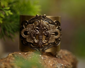 Fleur de Lis Brass Steampunk Cuff