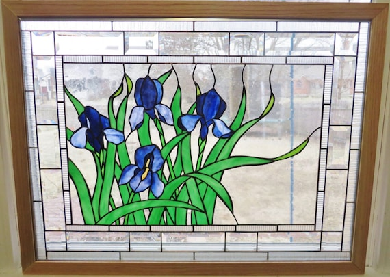 Ready To Ship transparent Suncatcher Window panel Handpainted glass Purple Almond in blossom Stained Glass brown Flowers