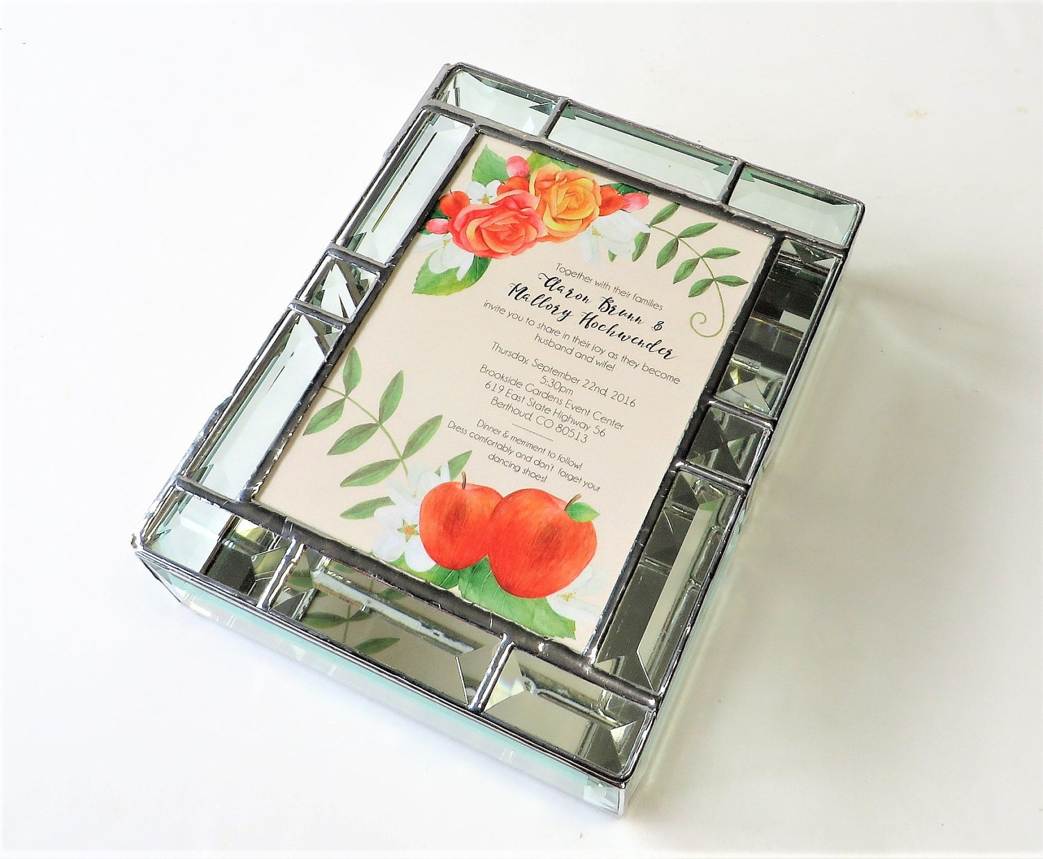 Gift Box Wedding Invitations: Stained Glass Keepsake Gift Box Wedding Invitation 7x9x2