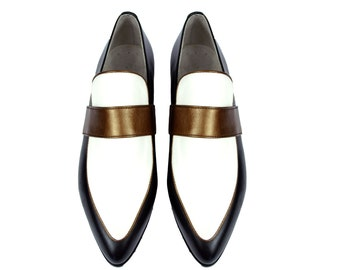 ARTEMISIA. 3 Tone Pointy Toe shoes Loafers Flats. (All women sizes)