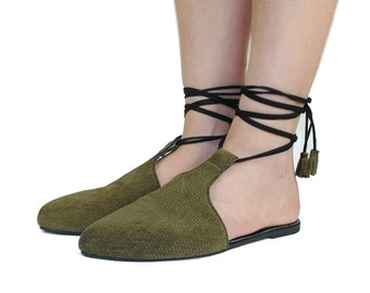 Summer Shoes  Flat Leather Shoes Tie up Sandals Flat Mules Beach Shoes Boho Festival Suede leather