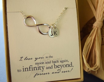 Personalized Infinity Necklace, Initial Infinity Choker, Valentines Gift, Anniversary Gift, Bridesmaid Necklace, Mothers Day Necklace