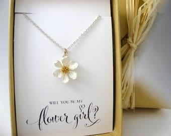 Flower Girl Gift, Flower Girl Necklace, Flower Necklace, Will you be my Flower Girl? Flower Girl Proposal, Thank you for being my Flower gir