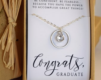 Graduation Gift, CZ  Circle Necklace, CZ or Choose your Birthstone Necklace, High School Graduation, College Grad Necklace, Class of 2018