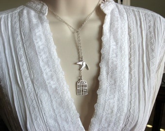 Be Free Bird Necklace, Bird Cage Necklace