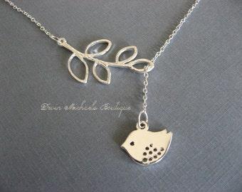 Silver Lariat Necklace Bird necklace, Branch Necklace, Bird and Branch Necklace, Silver Bird Necklace