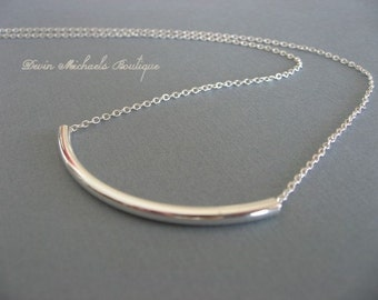 Wear with Everything Necklace, Silver Tube Necklace, Silver Bar Choker, Layering Necklace