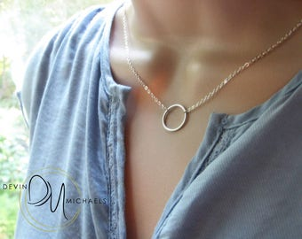 Silver Eternity Necklace, Eternity Circle Pendant, Circle Necklace available in Silver or Gold, Minimalist Ring Necklace