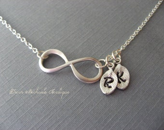 Personalized Infinity Necklace, Initial Infinity Choker, Anniversary Gift, Bridesmaid Necklace, Mothers Day Necklace, Personalized Jewelry