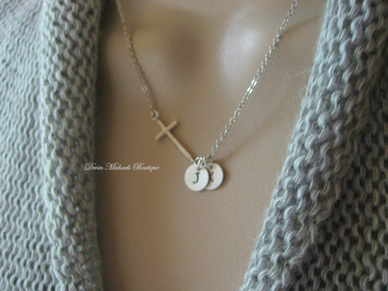 Christmas Gift Initial Charms Graduation Gift Personalized Mother/'s Necklace Personalized Sideways Cross Necklace Silver Cross Choker