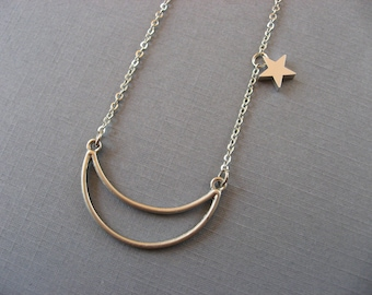 Moon and Stars Necklace, Pendant Necklace, silver necklace, crescent moon necklace, anniversary gift