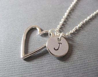 Personalized Heart Necklace, Valentine's Gift for Her, Silver Heart Necklace with Initial, Monogram Jewelry