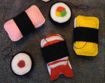 Takeout Sushi Felt Ornaments - Set of 5!
