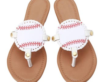 0945f89987e354 Custom Embroidered Monogrammed Sport Themed Summer Disc Sandals.  CrazyMomOf3Creations