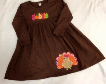 Girls Cotton Thanksgiving Gobble Turkey Dress