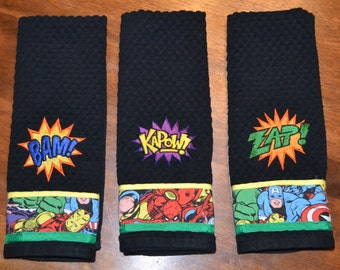 Marvel Avengers Inspired Comic Book Super Hero Kitchen Dish Towels