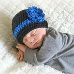 Crochet Baby Law Enforcement Thin Blue Line Beanie - Newborn to 10 years - Black and Royal Blue - MADE TO ORDER