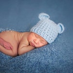 Crochet Baby Bear Beanie Hat Newborn - Soft Blue - MADE TO ORDER