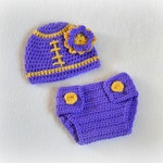 Crochet Baby Football Beanie Hat and Diaper Cover Set Grape/Sunshine Newborn MADE TO ORDER