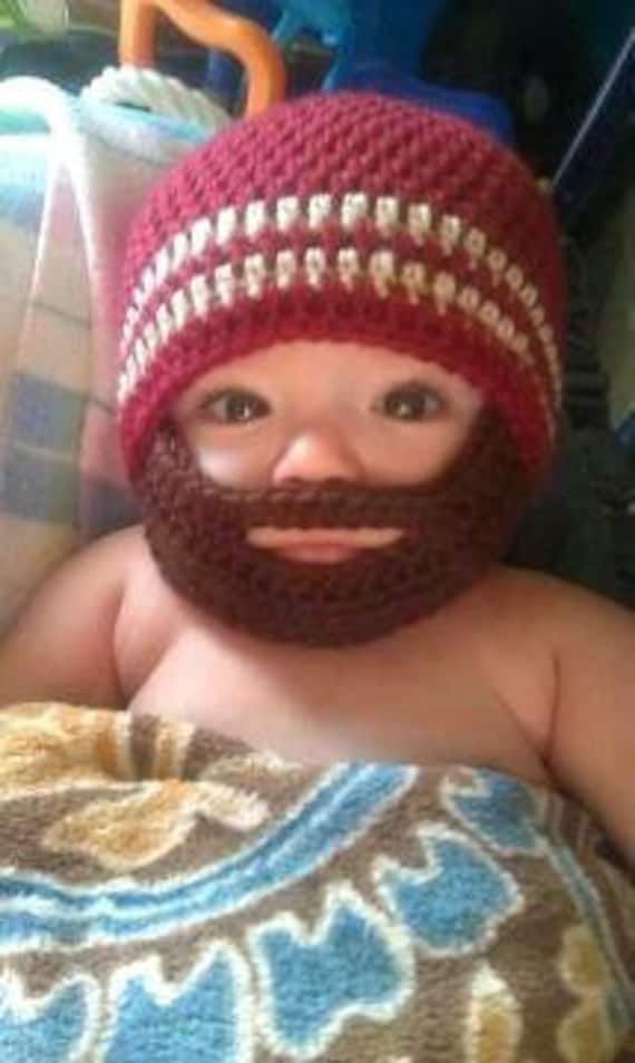 Crochet Baby Boy Beanie With Beard Hat 3 Months To 10 Years Etsy