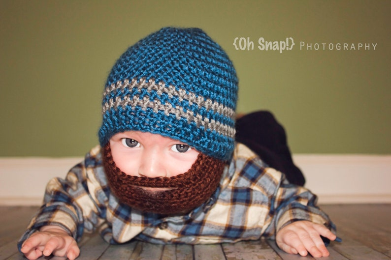 f7a76cd7f13 Crochet Baby Boy Beanie with Beard Hat 3 months to 10 years
