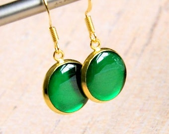 green goddess resin drop earrings, gold earrings, colorful jewelry, gift for her, green drop dangle