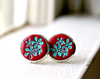 Cherry Red Stud Earrings Red Round Button Stud Earrings Delicate Retro Button Stud Earrings In Silver. Attract Red Stud Pierced Earrings