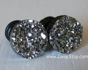 Silver Black Crystal Plugs for Gauged Ears, sizes 00g, 0g, 2g, 4g, 6g, earrings, 10mm, 8mm, 6mm, 5mm, 4mm, One (1) Pair