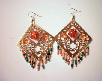 Big Gypsy earings in gold and orange  tone /new price 20.50 dollars was 26,50 dollars
