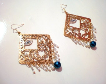 Big Evil Eye Gypsy earrings in gold  with white pearl  and clear beads / new price 20.50 dollars was 26,50 dollars