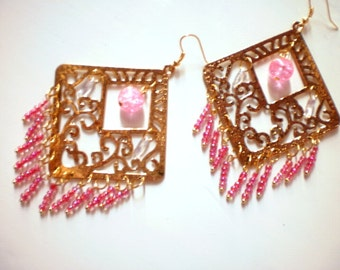 Big Gypsy earrings in gold  and pink tone / new price 20.50 dollars was 26,50 dollars