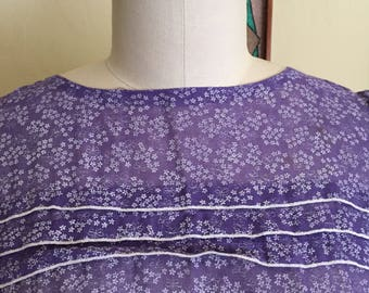 Women's 1970's violet /dainty flower summer dress size m