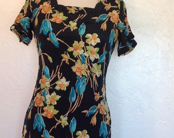 1930s Bias cut Tropical Floral Print Dress Bust 34