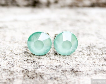be3f957f6 Titanium Earrings, Mint Green Swarovski Crystal Lacquer, Hypoallergenic