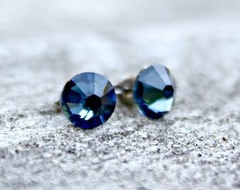 Titanium Earrings, Montana Blue Swarovski Crystal, Hypoallergenic