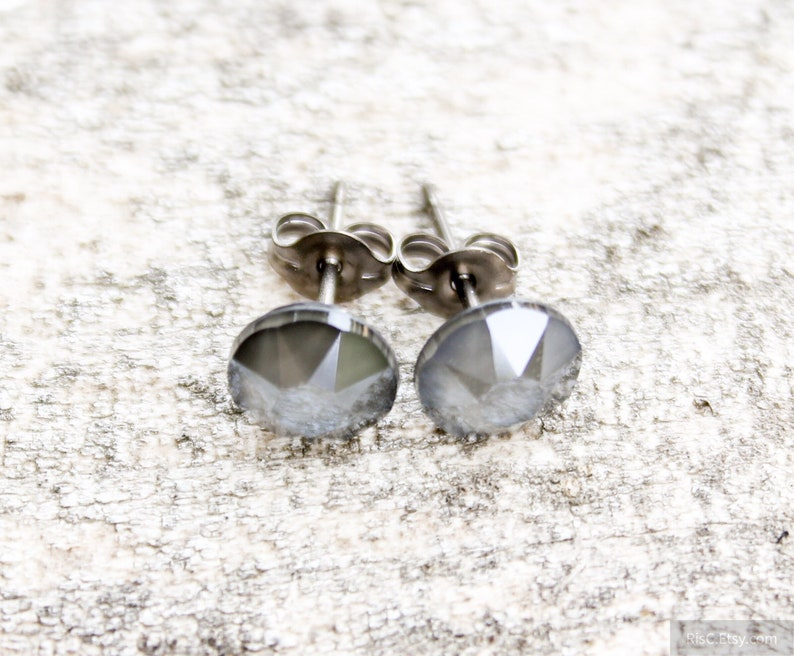 2990d5d4b Titanium Earrings Dark Gray Swarovski Crystal Lacquer   Etsy