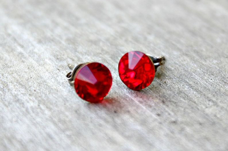 df94779a6 Titanium Earrings Light Siam Red Swarovski Crystal | Etsy